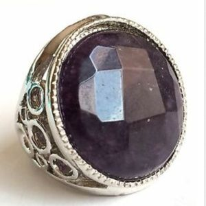 Silver Amethyst Deco Cocktail Ring Sz 5 6 7 8 9 10